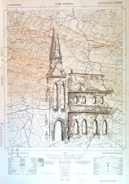 The settler church (over vintage Paterson map)