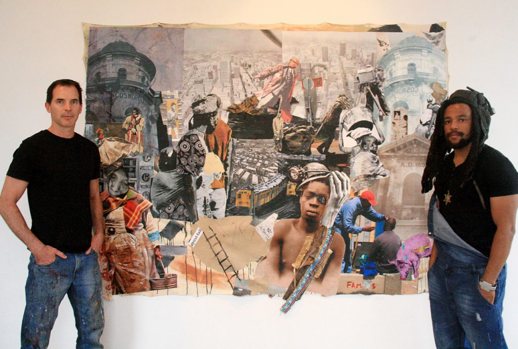 09/12/2016 Brought together by a love for Joburg history, painter and printmaker James Delaney and artist Ayanda Mabulu, whose work is known for its biting social commentary, have joined forces for this exhibition chronicling Joburg's 130-year history through one central street, Commessioner street. The exhibition opens tomorrow at  The Cosmopolitan in Maboneng. Picture: Nhlanhla Phillips