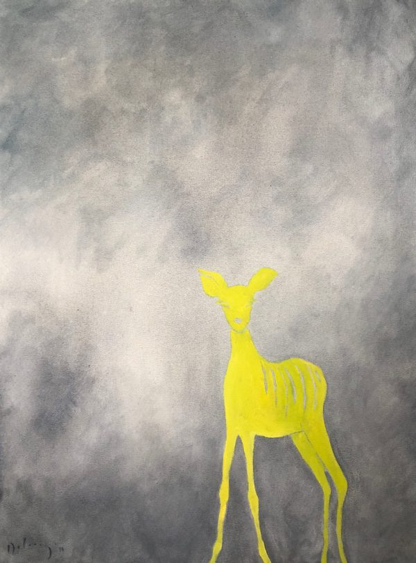 Yellow buck in the mist