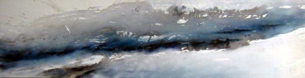 Albatross glides; unfazed by a cold landscape.
