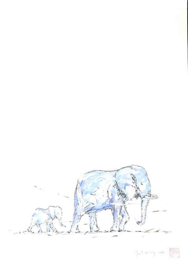 Blue elephant & calf
