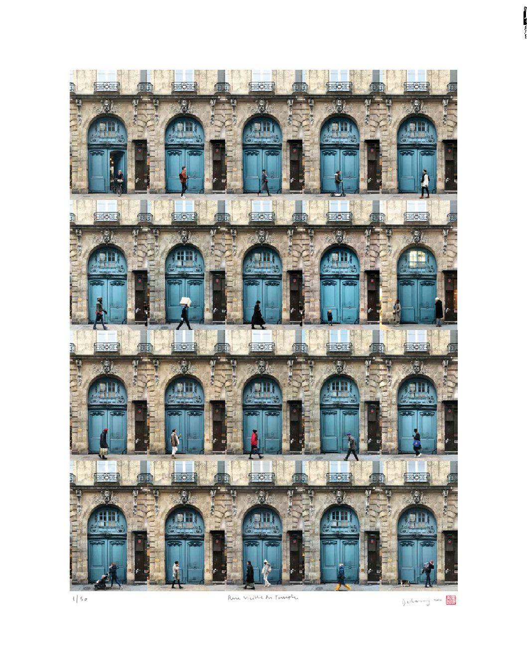 Blue Door on Rue Vieille du Temple, Paris